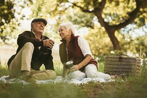 Senior couple sharing few precious