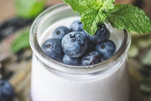 Fresh Blueberries with yogurt