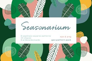 Seasonarium. Abstract botanical set.
