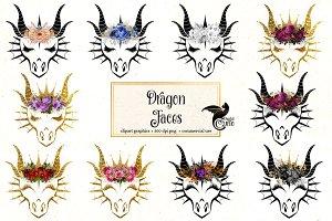 Dragon Faces Clipart
