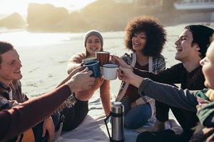 Multi-ethnic friends toasting
