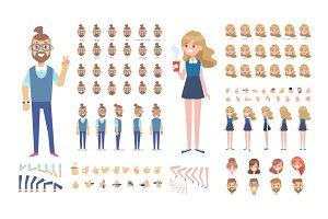 Guy and girl animation vector set