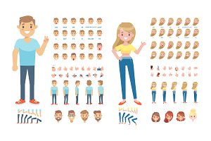 Boy and girl animation vector set