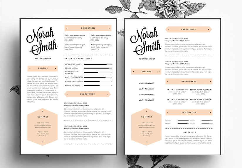custom cv business card template resume templates on creative market