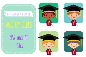 Graduation Vector Girls