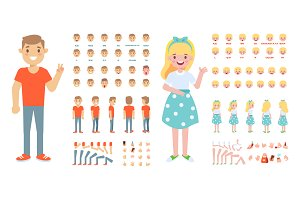 Girl and boy vector constructor