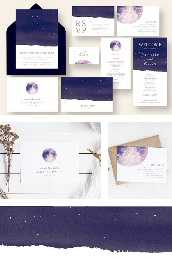 dreamy moon and star wedding suite invitation templates creative