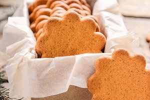 Sweet thin ginger biscuit in box