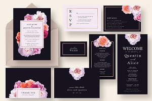 Stylish Dark Floral Wedding Suite