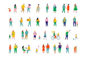 People crowd vector set