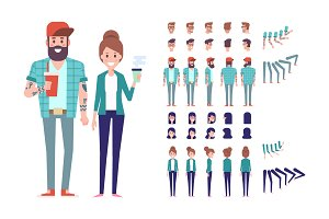 Male and female animation vector set