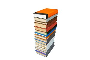 Stack of colored books isolated on w