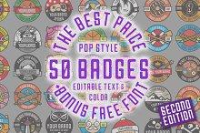 50 Pop Badges (Vol.2) + Custom Font