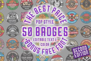 50 Pop Badges (Vol.2) + Custom Font