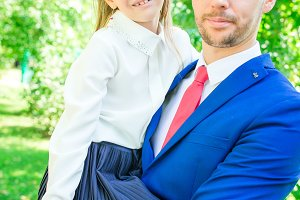 Father with daughter to school. Ador