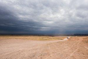 SUV car in the prairie