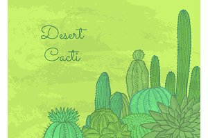 Vector wild cacti plants with place