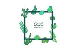 Vector hand drawn desert cacti