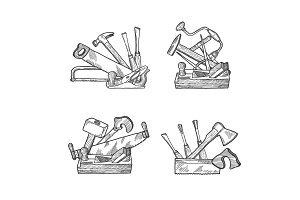 Vector hand drawn woodwork tools set