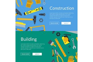 Vector flat construction tools web