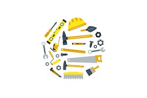 Vector flat construction tools in