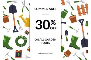 Vector flat gardening icons sale