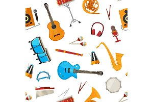 Vector musical instruments pattern
