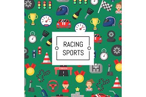 Vector flat car racing icons