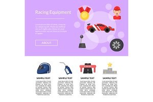 Vector flat car racing icons page