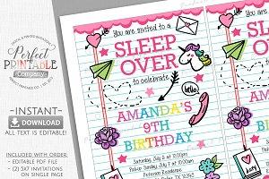 Sleepover Slumber Party Invitation