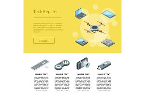 Vector isometric gadgets icons