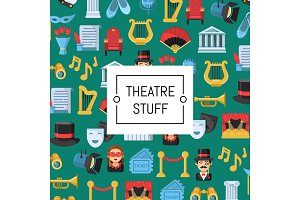 Vector flat theatre icons background