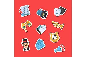 Vector flat theatre icons stickers