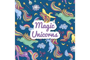 Vector hand drawn magic unicorns and