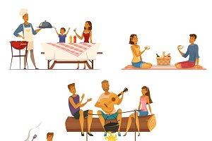 Barbecue picnic retro cartoon icons