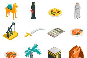 Saudi Arabia isometric touristic set