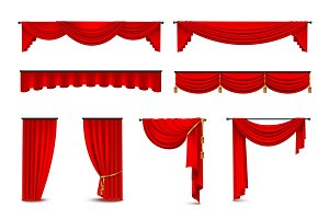 Luxury red curtains realistic icons