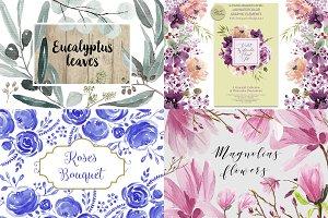 Watercolor Floral Bundle (4 sets)