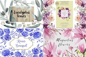 Watercolor Floral Bundle (4 sets)
