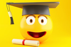 3d Graduation emoji with graduation