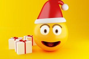 3d Christmas emoji with gift box.