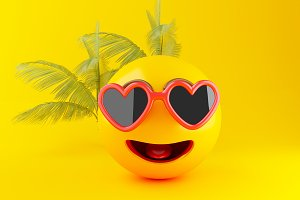 3d Emoji with sunglasses, Summer con