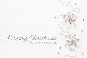 Elegant Christmas card with pearls.