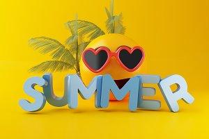 3d Emoji with sunglasses. Summer vac
