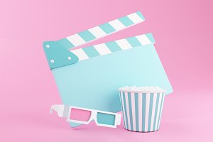 3d Popcorn, clapperboard and 3d glas