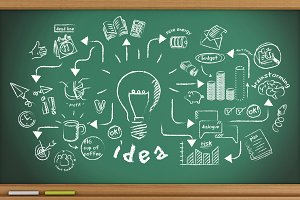 3d Green blackboard with creative sk