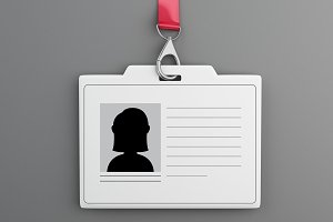 3d White plastic ID badge with lanya