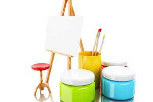 3d easel and brushes.