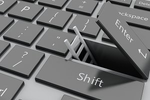 3d Open entet button with ladder com