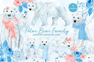 Polar Bear Family Illustration